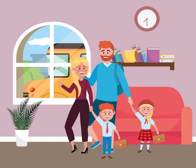 Rodzice z dziećmi chodzą do szkoły