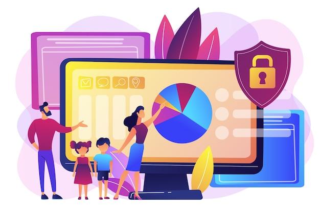 Rodzice z dziećmi korzystający z oprogramowania do kontroli treści. oprogramowanie do kontroli rodzicielskiej, ograniczony dostęp dla dzieci, koncepcja ograniczeń treści multimedialnych. jasny żywy fiolet na białym tle ilustracja