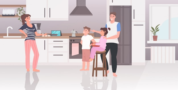 Rodzice z dziećmi przygotowując jedzenie rodzina spędzać czas razem nowoczesna kuchnia wnętrze poziome