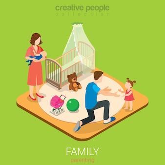 Rodzicielstwo czasu z rodziną płaskie d izometryczny koncepcja infografiki internetowej