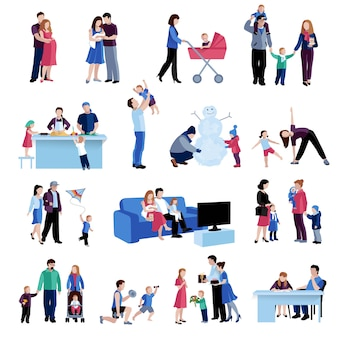 Rodzicielstwo rodzinne sytuacje płaski zestaw ikon