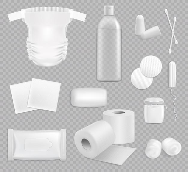 Rodzina 3d higieniczne dostawy na białym tle zestaw
