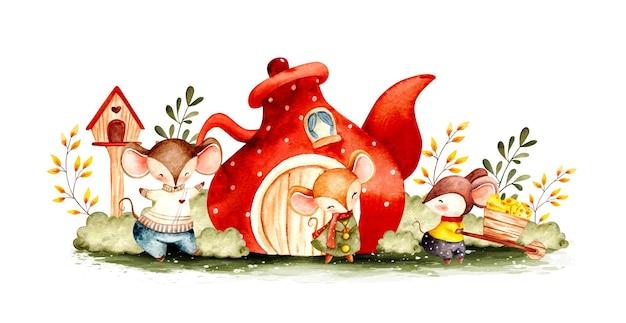 Rodzina akwarelowych myszy w ogrodzie