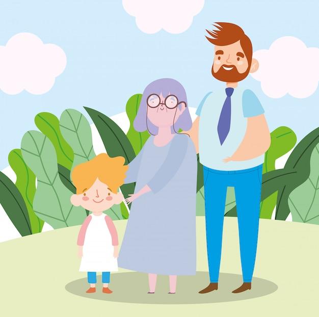 Rodzina babcia z synem i wnukiem razem postać z kreskówki