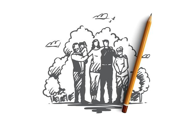 Rodzina, bycie razem, spędzanie czasu z koncepcją krewnych. rodzice, dziadkowie i dziecko na rękach dziadka razem w parku. ręcznie rysowane szkic ilustracji