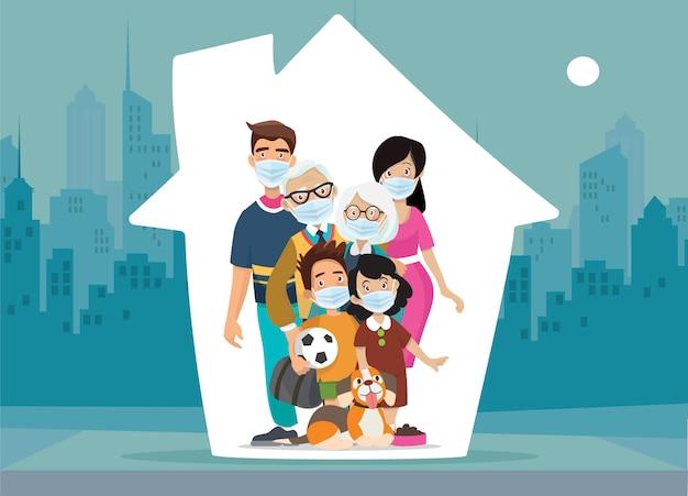 Rodzina chroni swoje dzieci, zostań w domu podczas epidemii. rodzina zostaje w domu w kwarantannie własnej.