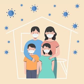 Rodzina chroniona przed ilustracją wirusa