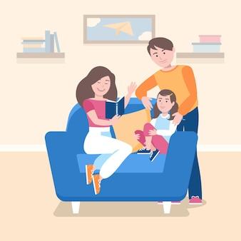 Rodzina ciesząc się razem czytając
