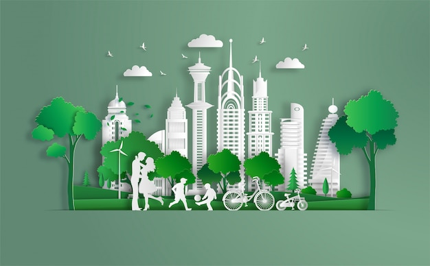 Rodzina cieszy się świeżym powietrzem w parku, dzieci grają w piłkę nożną, eko zielone miasto.