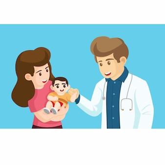 Rodzina do lekarza w szpitalu, przychodni, klinice. koncepcja opieki zdrowotnej. znak profesjonalny lekarz na ilustracji w miejscu pracy. matka i jej dziecko z lekarzem