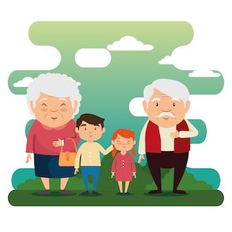 Rodzina dziadków z wnukami