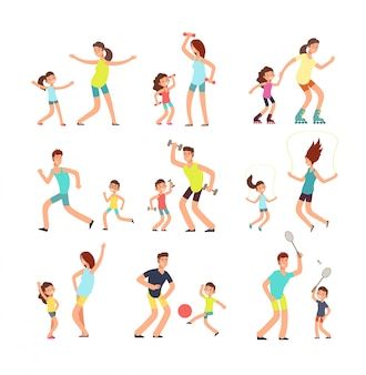 Rodzina fitness, rodzice i dzieci trenujące razem.