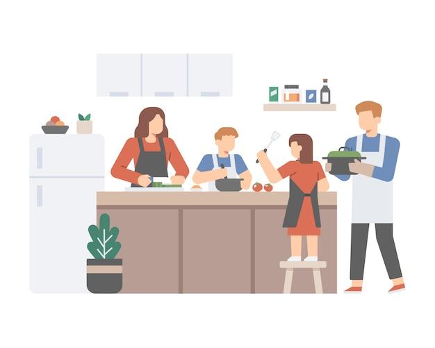Rodzina gotuje razem w kuchni
