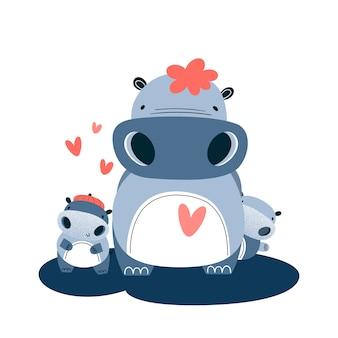 Rodzina hipopotamów. mamusia i dwoje dzieci. ilustracji wektorowych
