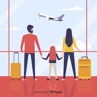 Rodzina idzie na tło wycieczki