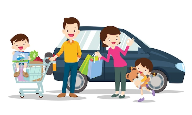 Rodzina ilustracja zakupy na białym tle