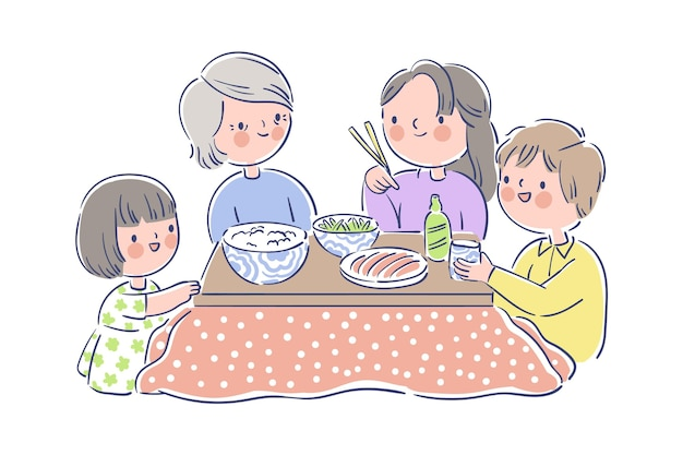 Rodzina jedząca przy stole kotatsu