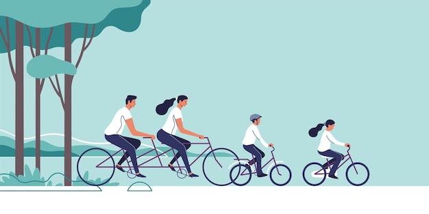 Rodzina jedzie na rowerach na tle naturalnego krajobrazu. ilustracja.