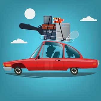 Rodzina jedzie na wakacje samochodem podróży koncepcja ilustracji wektorowych w stylu kreskówki
