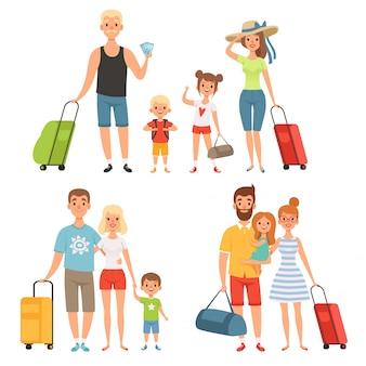 Rodzina jedzie na wakacje. szczęśliwa rodzina podróżuje