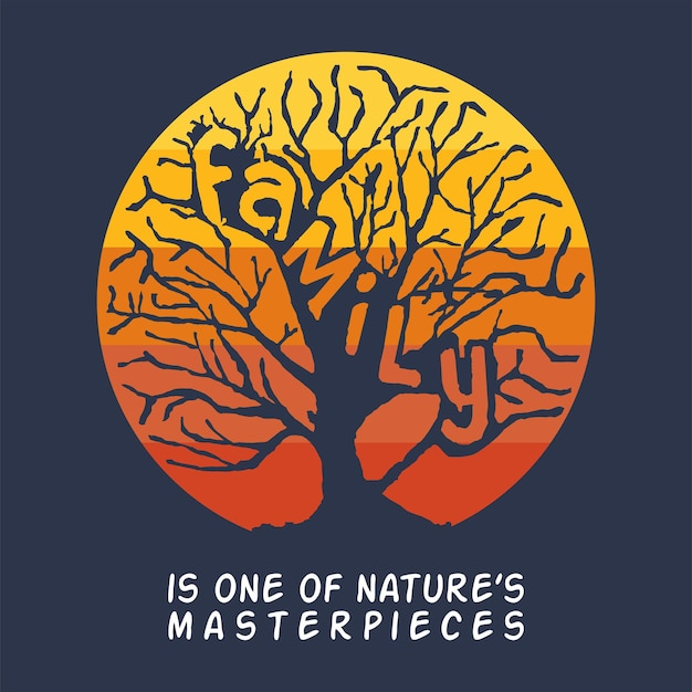 Rodzina jest jedną z ilustracji plakatu arcydzieła natury z rodziną listów na projekcie drzewa