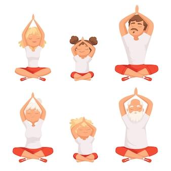 Rodzina jogi. rodzice i dzieci wykonując ćwiczenia jogi i medytacji stanowią buddyzm zdjęcia starszych mężczyzn i kobiet. rodzina robi joga, dziadek i babcia medytować ilustrację