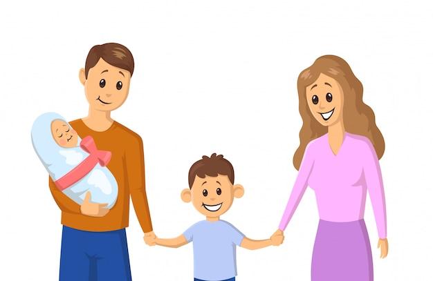 Rodzina kreskówka trzymając się za ręce w parku. rodzice i dzieci. ilustracja. na białym tle.