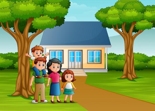 Rodzina kreskówki przed podwórzem domu