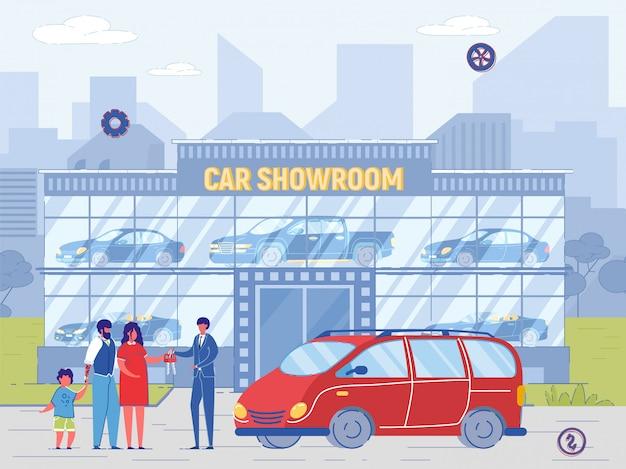Rodzina kup minivana w salonie samochodowym. dealer sprzedaje samochód, daj klucz nowemu właścicielowi. mężczyzna i kobieta z dzieckiem kupują samochód z ilustracji przedstawiciela sprzedawcy. sprzedaż detaliczna lub wypożyczalnia samochodów