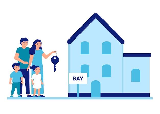 Rodzina kupić lub wynająć dom nieruchomość matka ojciec i dzieci przeprowadzają się do nowego miejsca klucz