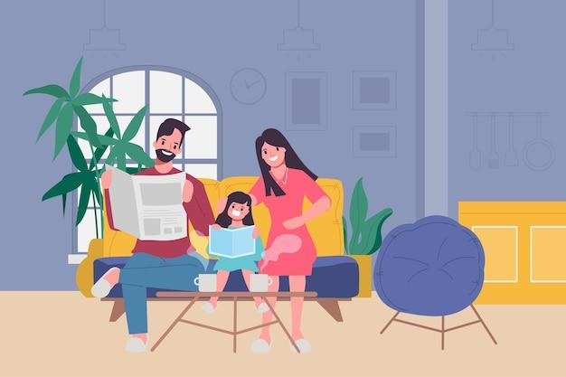 Rodzina ludzie pozostają w domu z kochankami i rodzicami.