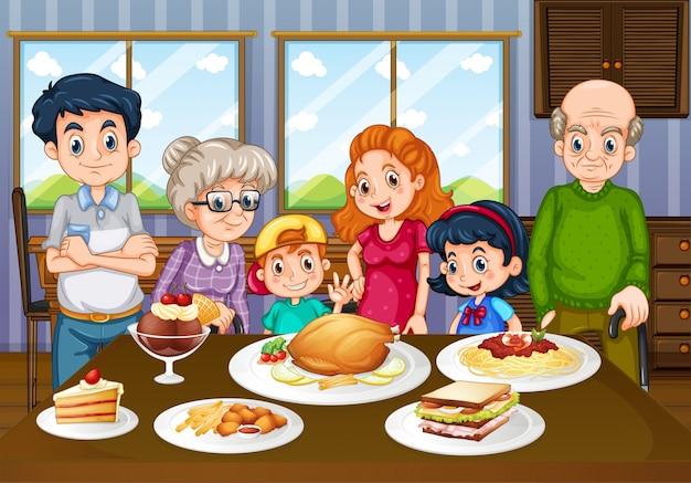 Rodzina ma posiłek w jadalni wpólnie