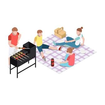 Rodzina mająca piknikowy grill gotujący jedzenie na zewnątrz izometryczny 3d