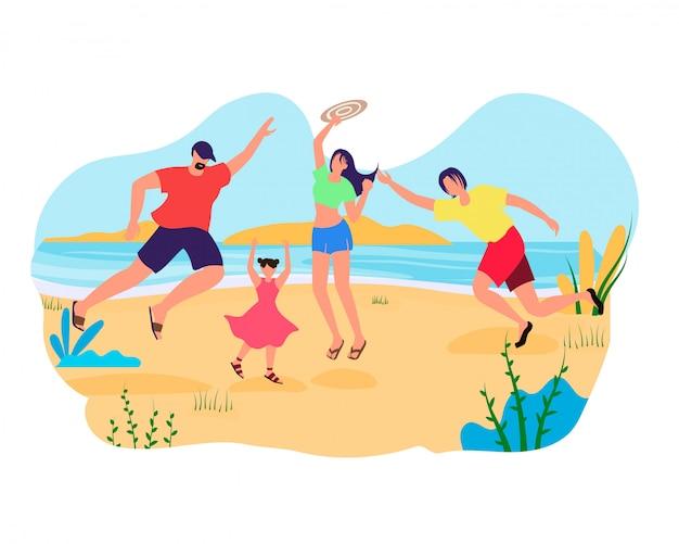 Rodzina matki, ojca i dzieci grają w aktywną grę