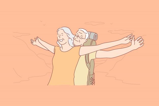 Rodzina, miłość, wakacje, koncepcja wędrówki