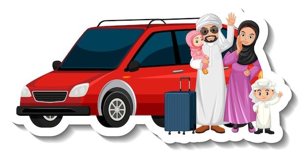 Rodzina muzułmańska stojąca przed samochodem