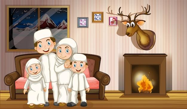 Rodzina muzułmańska w salonie z kominkiem