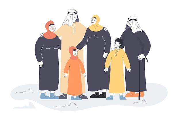 Rodzina muzułmańska w tradycyjnych strojach płaska ilustracja
