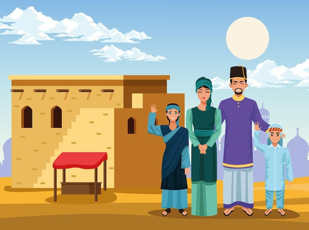 Rodzina muzułmańska z domem