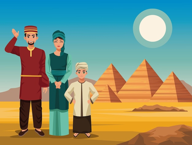 Rodzina muzułmańska z piramidami