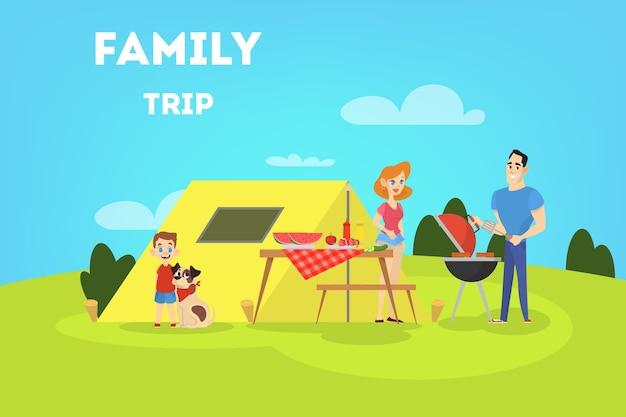 Rodzina na grillu na podwórku