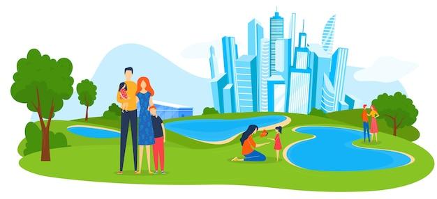 Rodzina na ilustracji lato park miejski.