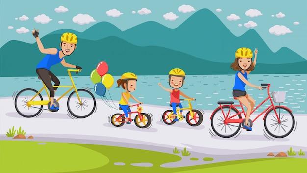 Rodzina na rowerze.