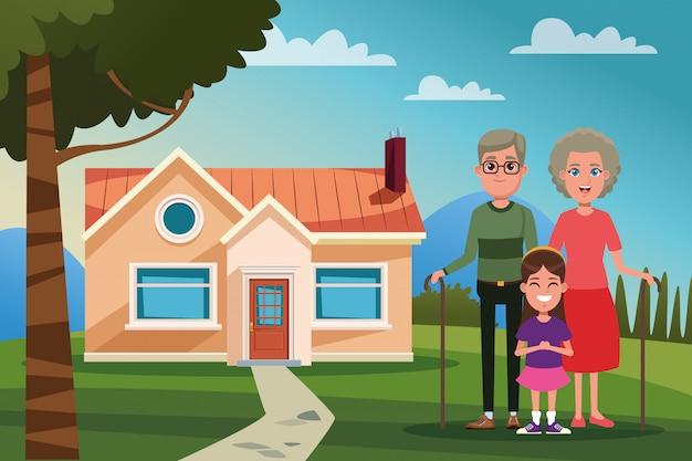 Rodzina na zewnątrz z kreskówki domu