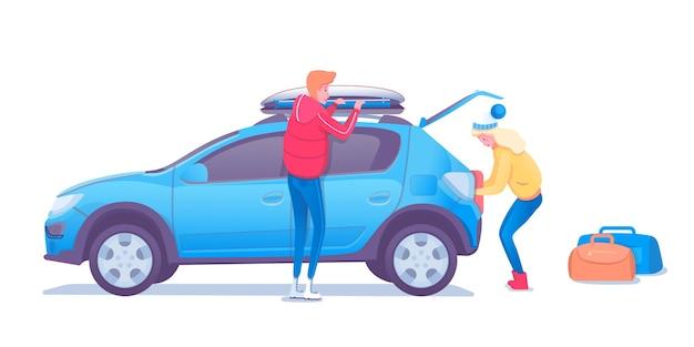 Rodzina na zimowej wycieczce ilustracja, dorośli pakujący postaci z kreskówek samochodów.
