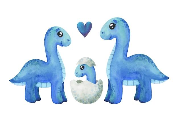 Rodzina niebieskich diplodoków z małym dinozaurem w muszli. clipart do dekoracji ze zwierzętami