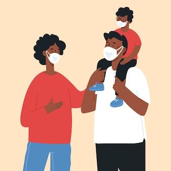 Rodzina nosi ochronną maskę medyczną, aby zapobiec wirusowi