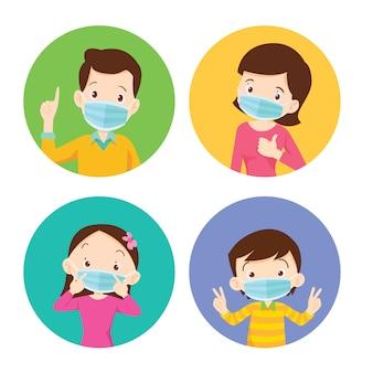 Rodzina nosi ochronną maskę medyczną dla zapobiegania wirusowi. tata mama córka syn nosi maskę chirurgiczną.
