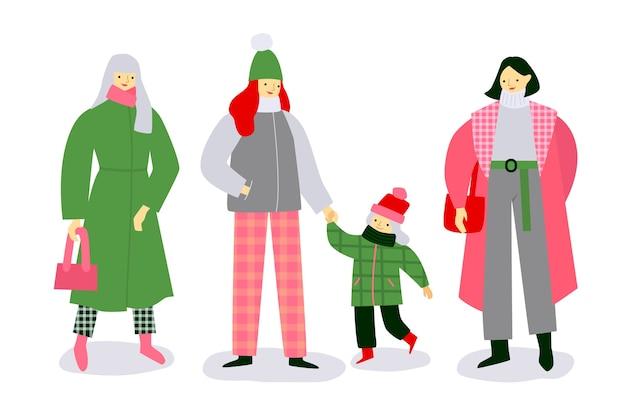 Rodzina nosi ubrania zimowe