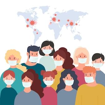 Rodzina nosząca ochronną maskę medyczną w celu zapobiegania wirusowi wuhan covid-19. ilustracja wektorowa koronawirusa z wuhan.